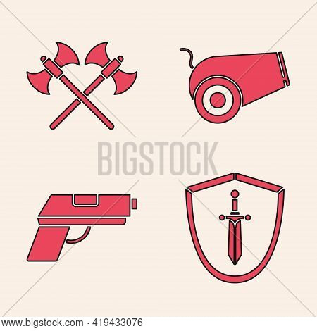 Set Medieval Shield With Sword, Crossed Medieval Axes, Cannon And Pistol Or Gun Icon. Vector
