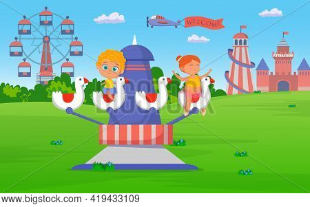 Children Riding Attraction In Amusement Park Illustration. Happy Cartoon Characters On Rides, Ferris