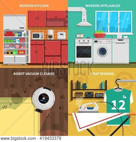 Household Appliances Concept Icons Set With Modern Kitchen And Neat Ironing Symbols Flat Isolated Ve
