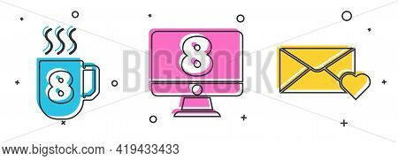 Set Coffee Cup With 8 March, 8 March On Monitore And Envelope With 8 March Icon. Vector
