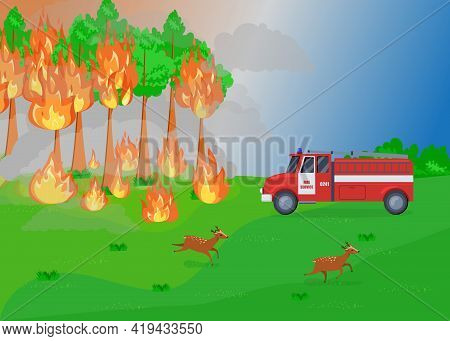 Cartoon Fire Service And Forest Fire Illustration. Trees Burning, Firefighters In Truck Coming To Ex