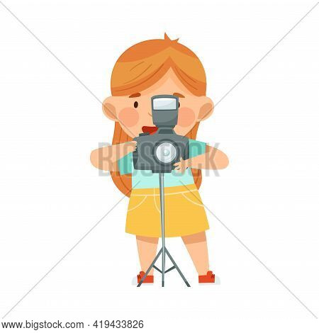 Little Redhead Girl With Camera On Stand Taking Photograph Vector Illustration