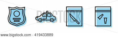 Set Line Evidence Bag And Knife, Police Badge, Police Car And Flasher And Evidence Bag And Bullet Ic