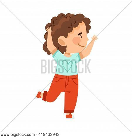 Cheerful Girl With Raised Hands Jumping With Joy And Excitement Vector Illustration