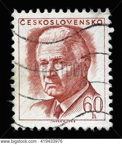 ZAGREB, CROATIA - SEPTEMBER 18, 2014: Stamp printed in Czechoslovakia shows President Ludvik Svoboda, circa 1968
