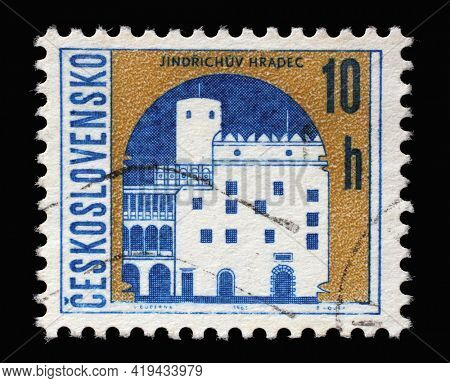 ZAGREB, CROATIA - SEPTEMBER 18, 2014: Stamp printed in Czechoslovakia shows coat of arms of Jindrichuv Hradec, circa 1968