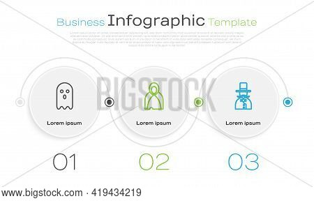 Set Line Ghost, Mantle, Cloak, Cape And Magician. Business Infographic Template. Vector