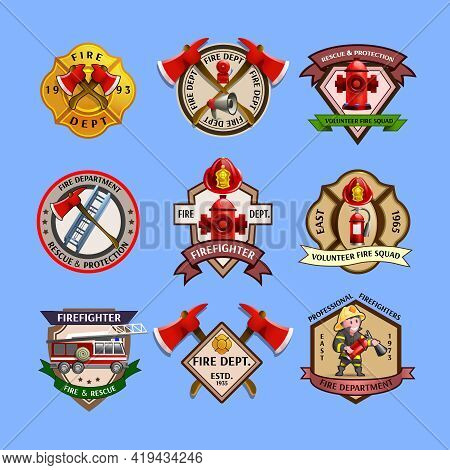 Fire Dept Quality Labels Emblems And Firefighters Department Equipment Markers Colorful Pictograms C