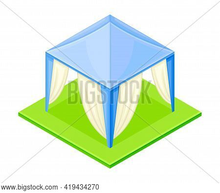 Picnic Tent Or Marquee Rested On Green Square Area Isometric Vector Illustration