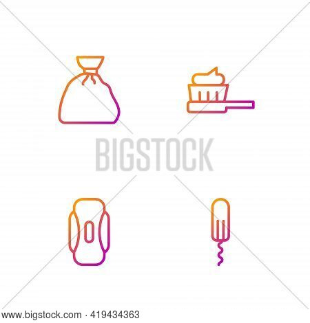 Set Line Sanitary Tampon, Napkin, Garbage Bag And Toothbrush With Toothpaste. Gradient Color Icons.