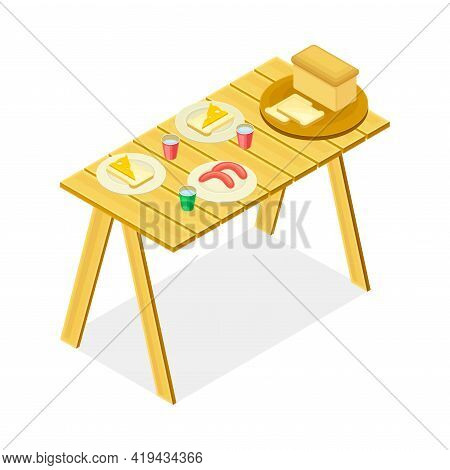 Picnic Foodstuff Rested On Plates On Wooden Table Isometric Vector Illustration
