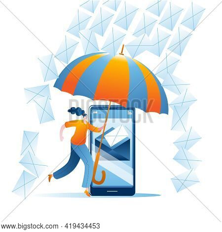 The Girl With The Umbrella Protects The Mail Server On The Smartphone From Spam. Vector Illustration