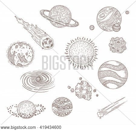 Planets, Comets And Meteors Engraved Illustrations Set. Hand Drawn Sketch Of Universe Or Cosmos Elem