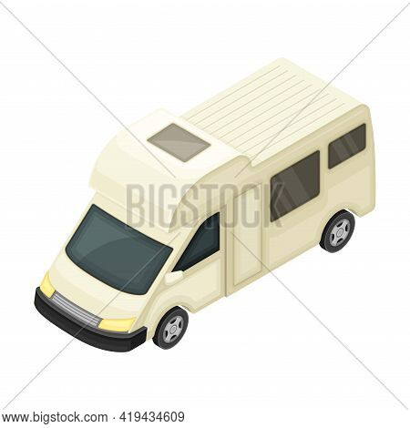Camper Van Or Travel Trailer As Home During Journey Or Vacation Isometric Vector Illustration