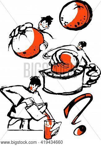 Orange Juice. Vector Illustration Of Person Squeezing An Orange
