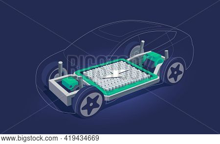 Electric Car Inside Chassis With High Energy Battery Cells Pack Modular Platform. Skateboard Module