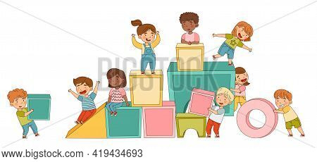 Big Toy Blocks And Playful Children Carrying Them Around Building Tower And Having Fun Vector Illust