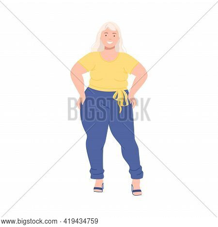 Blond Woman Character With Corpulent Body On High Heels In Standing Pose Full Length Vector Illustra