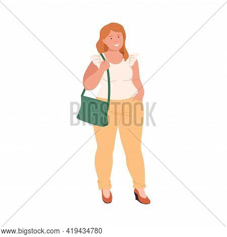 Smiling Woman Character With Corpulent Body In Standing Pose Full Length Vector Illustration