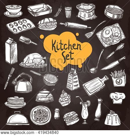 Food Chalkboard Set With Hand Drawn Kitchen Equipment On Chalkboard Isolated Vector Illustration