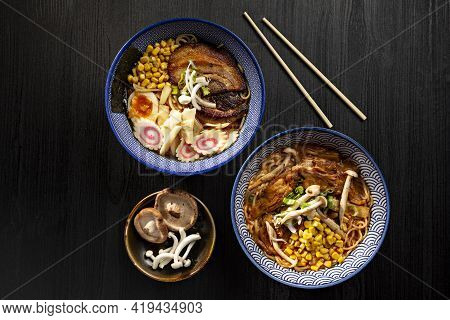 Bowl Of Japanese Miso Ramen Soups On Dark Background Viewed From Above. Japanese Noodles.