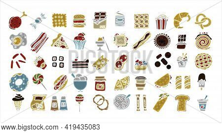 Doodle Food Set Of 50 Various Fast-food Products. Hand-drawn Sweets, Desserts, Snacks, Popcorn, Amer