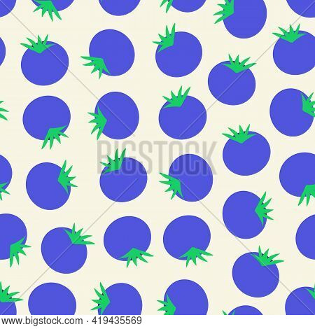Blueberry Seamless Vector Pattern. Blueberries Repeating Background. Hand Drawn Fruit Surface Patter