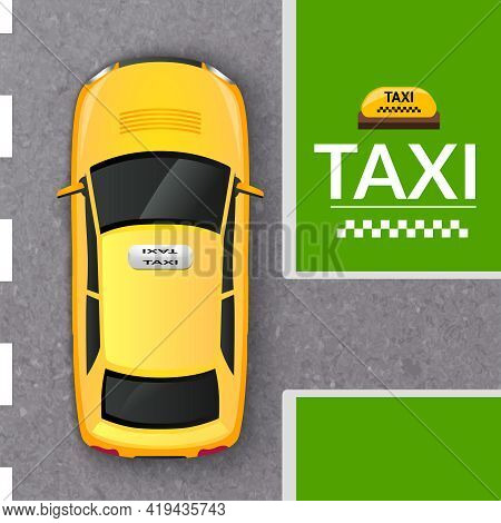 Public Transportation Company Taxicab In The Street Top View From Above Flat Pictogram Abstract Vect