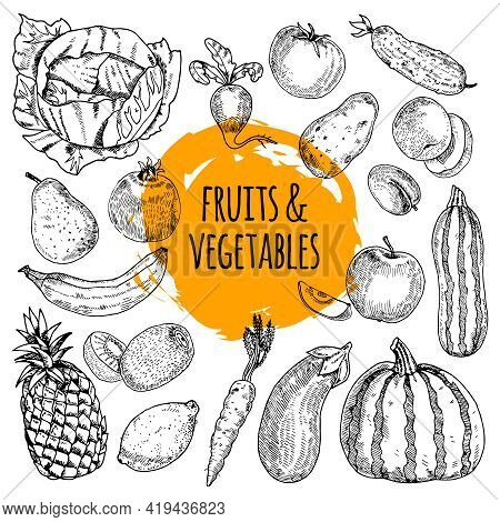 Healthy Food Pictograms Arrangement Of Fruits And Vegetables Collection Hand Drawn Doodle Style Abst