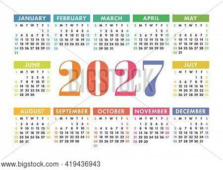 Calendar 2027 Year. English Colorful Vector Horizontal Wall Or Pocket Calender Template. Design. New