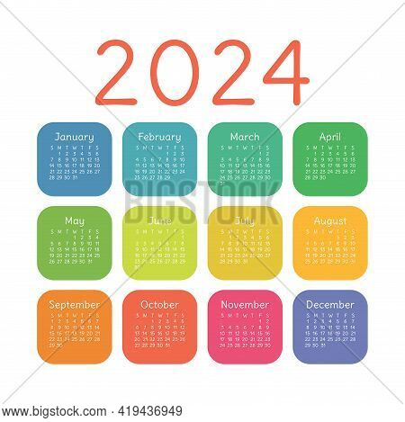 Calendar 2024 Year. English Colorful Vector Square Pocket Or Wall Calender Template. Kids Colors. Tr
