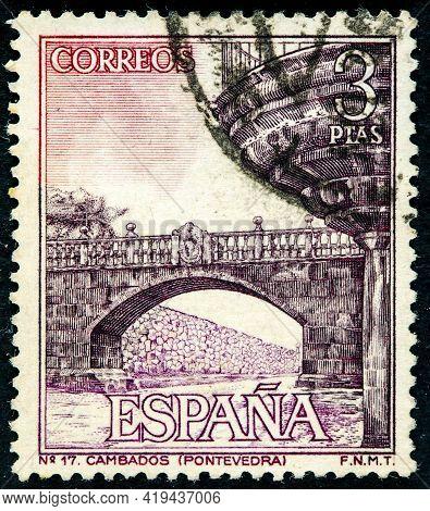Spain - Circa 1964: A Stamp Printed In Spain Shows Cambados Bridge In Pontevedra, Circa 1964.