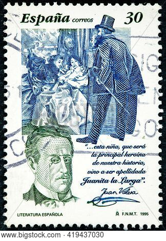 Spain - Circa 1995: A Stamp Printed By Spain Shows Portrait Of Juan Valera, Was A Spanish Realist Au