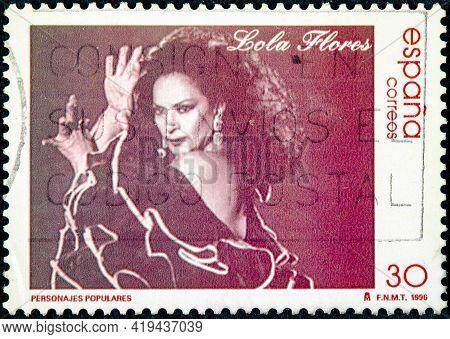 Spain - Circa 1996: A Stamp Printed In Spain Shows Lola Flores Famous Folk Circa 1996