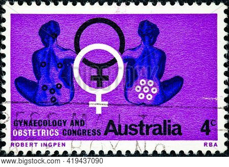 Australia - Circa 1967: A Stamp Printed In The Australia Shows Seated Women Symbolizing Obstetrics A