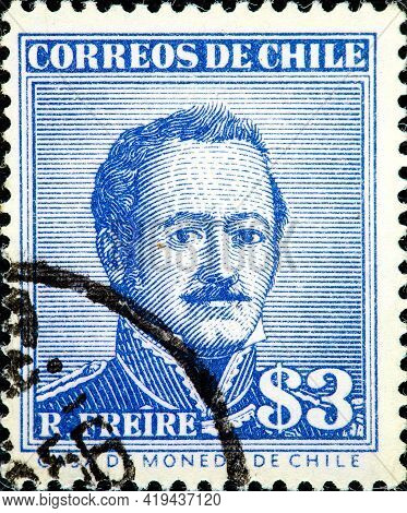 Chile - Circa 1956: Canceled Postage Stamp Printed By Chile, Shows Ramon Freire Serrano, Military Ma