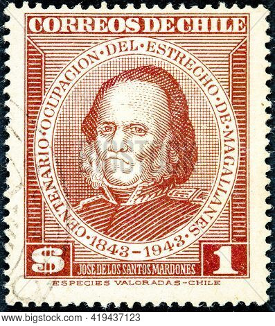 Chile - Circa 1943: Canceled Postage Stamp Printed By Chile, Shows Jose De Los Santos Mardones, From