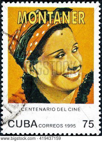 Cuba - Circa 1995: A Stamp Printed In Cuba Shows Rita Montaner Cuban Singer Pianist Actress And Star