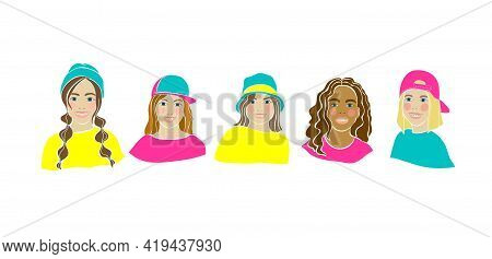 Girl Smile Braces Drawn In Cartoon Style On White Background. Beauty Woman. Medical Illustration. He