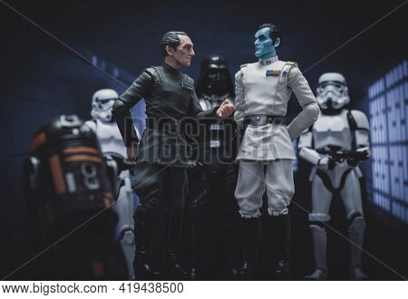 MAY 1 2021: Star Wars Grand Moff Tarkin with Grand Admiral Thrawn and Darth Vader - Hasbro action figures