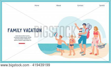 Summer Family Vacation Web Banner Concept With Happy Family On The Beach, Flat Vector Illustration.