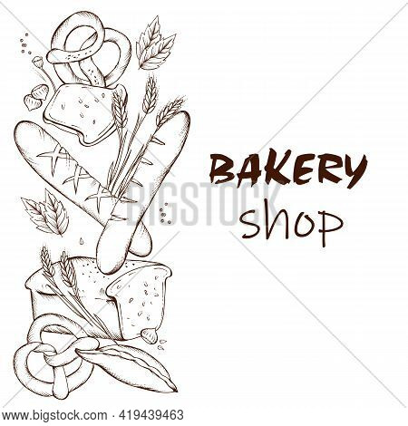 Bakery Shop Banner Or Flyer Template With Hand Drawn Fresh Baked Production. Bakery Products In Hand