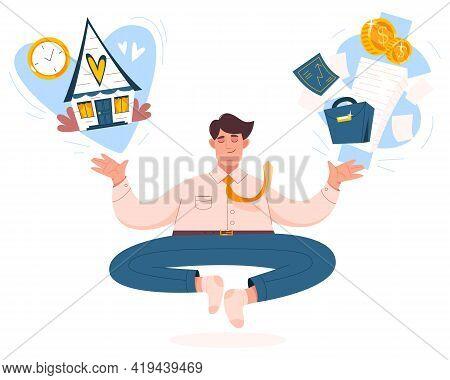 Work Life Balance Concept. Businessman Meditates, Keep Harmony Or Wellbeing. Flat Man Choose Between