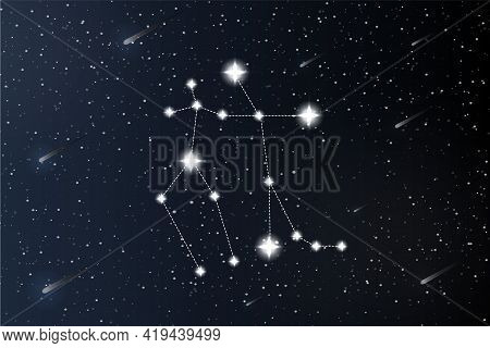 Gemini. Zodiac Constellation On Outer Space Background. Mystery And Esoteric. Horoscope Vector Illus