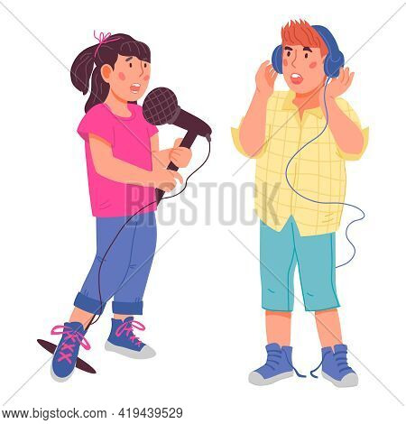 Cute Girl And Boy Singing Together. Kids Cartoon Characters For Vocal Classes And Art School. Childr