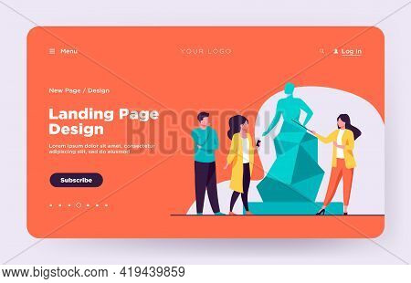 Guide Telling About Sculpture To Tourists. Museum, Travel, Leisure Flat Vector Illustration. Art And
