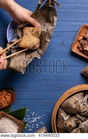 Zongzi Rice Dumpling Top View For Dragon Boat Festival Over Dark Black Background.