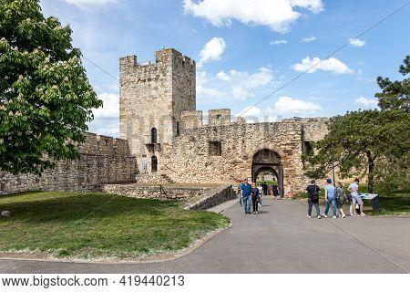 Belgrade, Serbia - May 2, 2021: Kalemegdan Fortress Historic Castle Towers, Gate, And Bridge In Belg