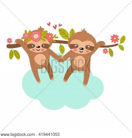 Sloth Babies Cling To Each Other S Paws And Hang On A Tree Branch. Cute Vector Illustration In Hand