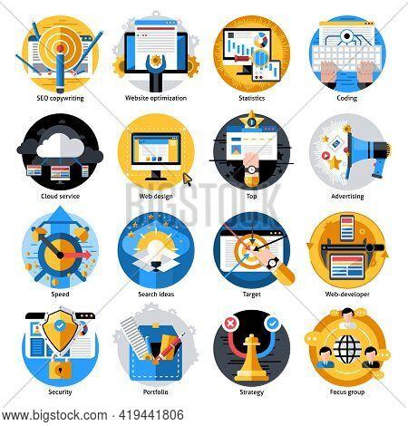 Seo Development Round Icons Set With Web Security And Portfolio Strategy Isolated Vector Illustratio